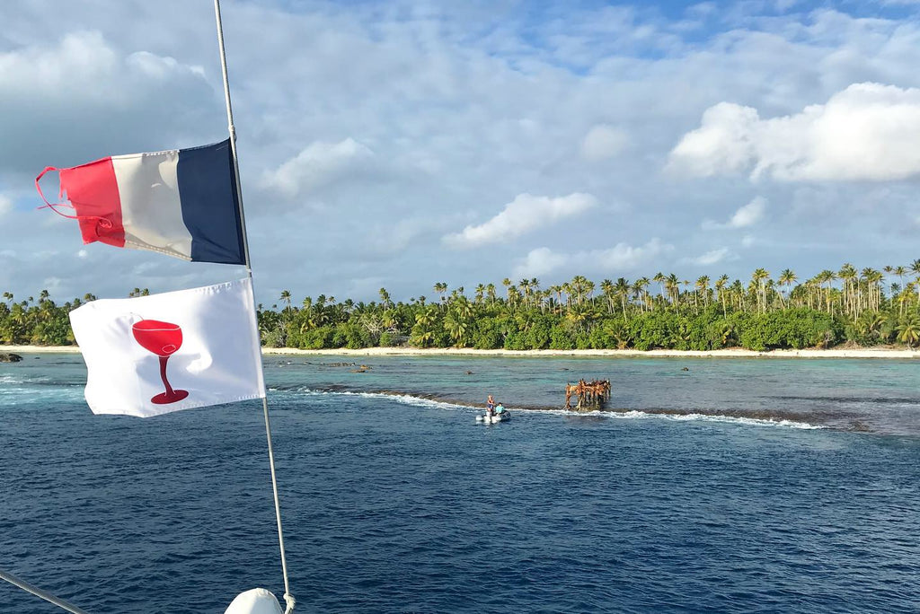 Cocktail flag flying in Tahiti