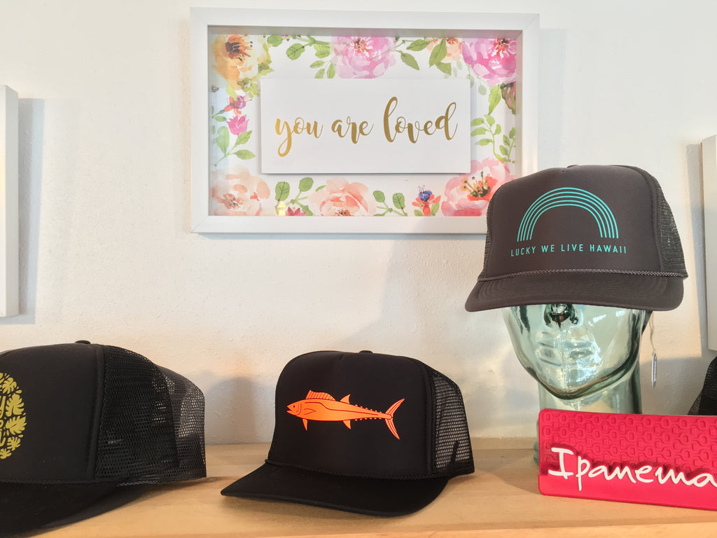 Sun Dot marine trucker hats in kaiella boutique waimea