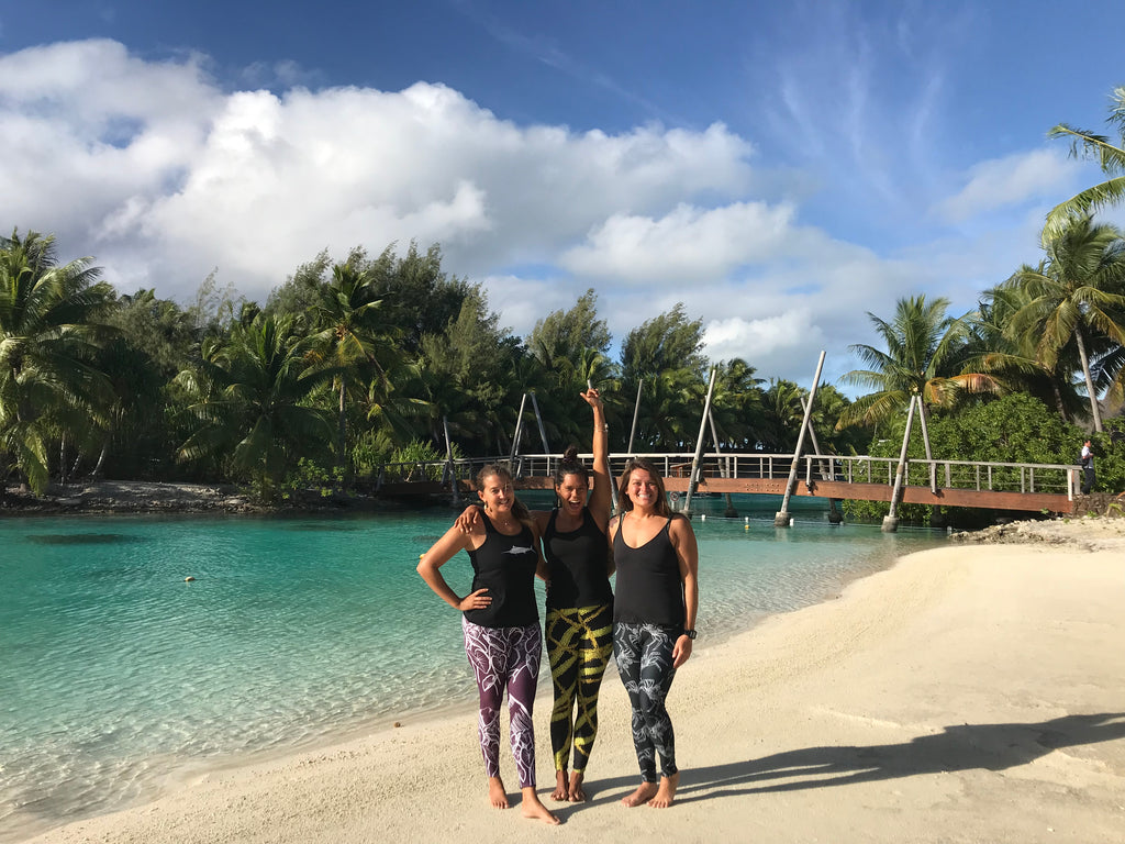 Yoga on bora bora in our feather love hawaii leggings