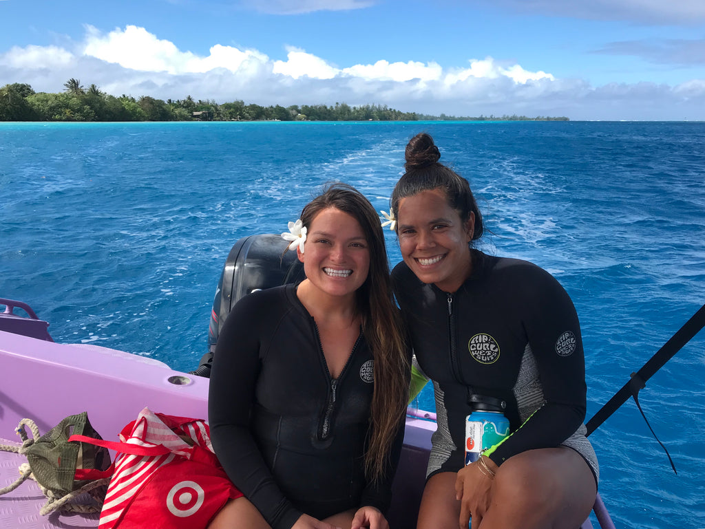 Christa and Tina surfing adventures on Huahine