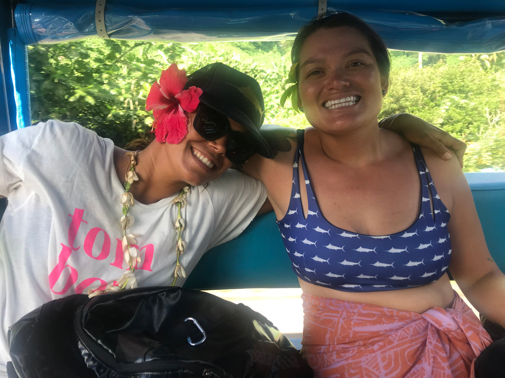 Christa and Tina cruising in Huahine