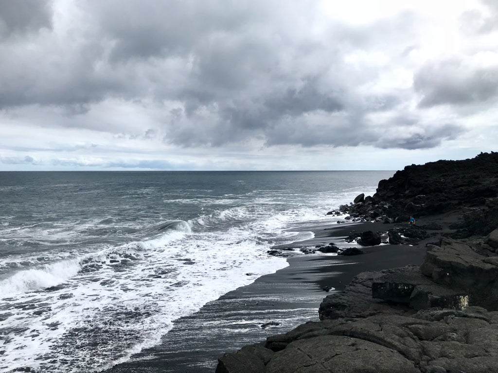 New pure black sand beaches along the coast to pohoiki