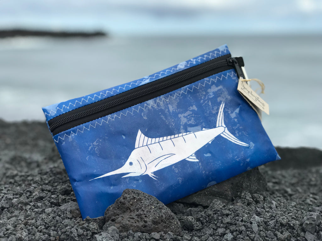 Close up of blue Marlin upcycle large pouch