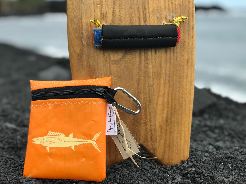 New upcycle Hawaii Wahoo Ono pouch perfect for holding surf wax