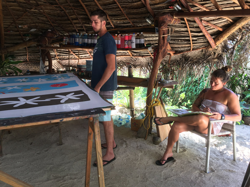 Painting pareos on Huahine with Nainoa
