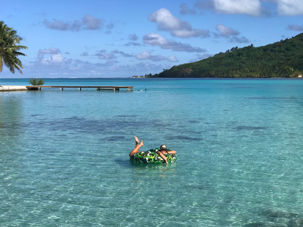Floating in our backyard inn huahine