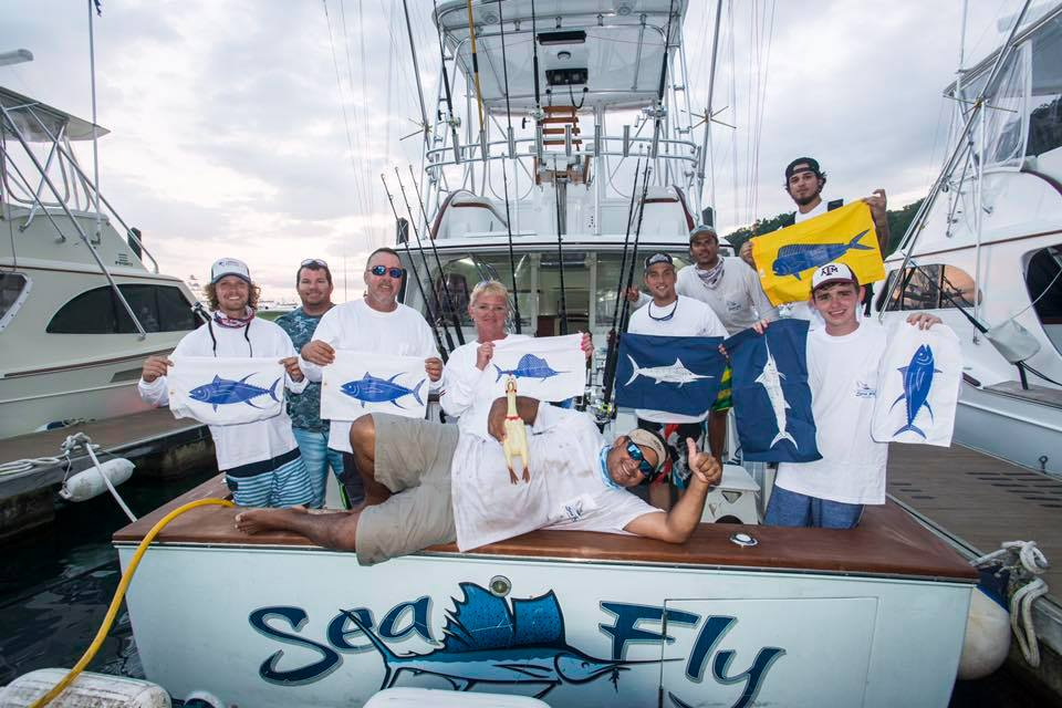 sundot marine fish flags on board the sea fly sport fishing charter Costa Rica