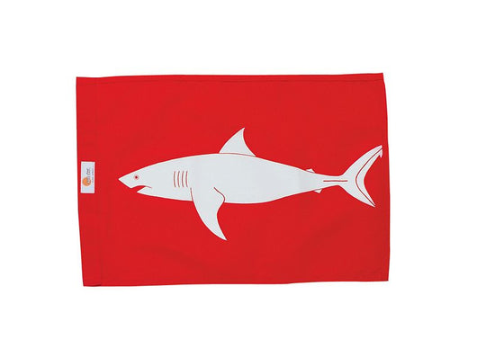 Sundot Marine Flags Shark - Red flag with white shark image