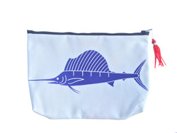 SALE - SAILFISH SUNDOT POUCH WITH HAWAIIAN PRINT FABRIC