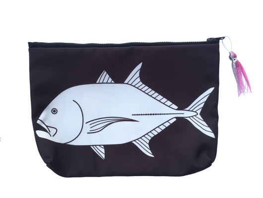 TREVALLY / ULUA SUNDOT POUCH WITH HAWAIIAN PRINT FABRIC