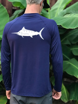Men's Loose Fit Longsleeve Marlin 50 SPF Sun Shirt