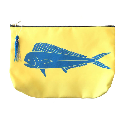 DOLPHIN / MAHI-MAHI POUCH WITH HAWAIIAN PRINT FABRIC