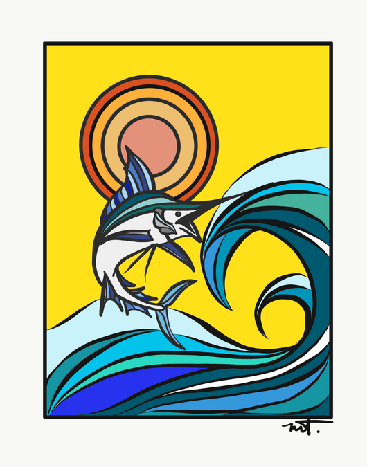 Marlin Sundot Digital Print Greeting Card 4x6
