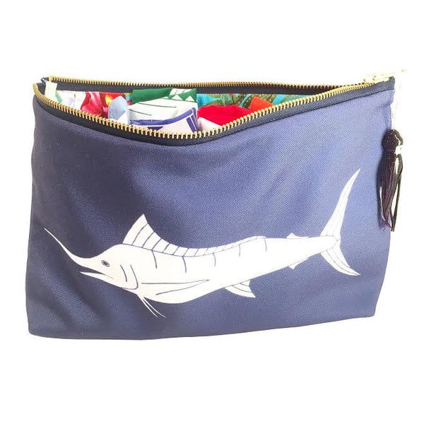 Marlin Pouch Sundot Marine Flags with Hawaiian Print lining collaboration with The Surf Couture