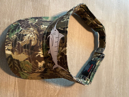 Camo Visor Hat - White Printed Fish