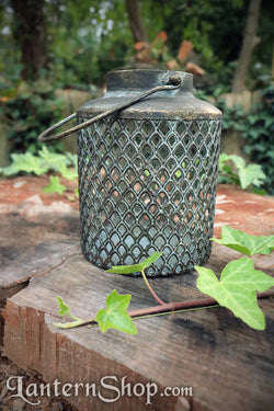 Diamond weave basket lantern