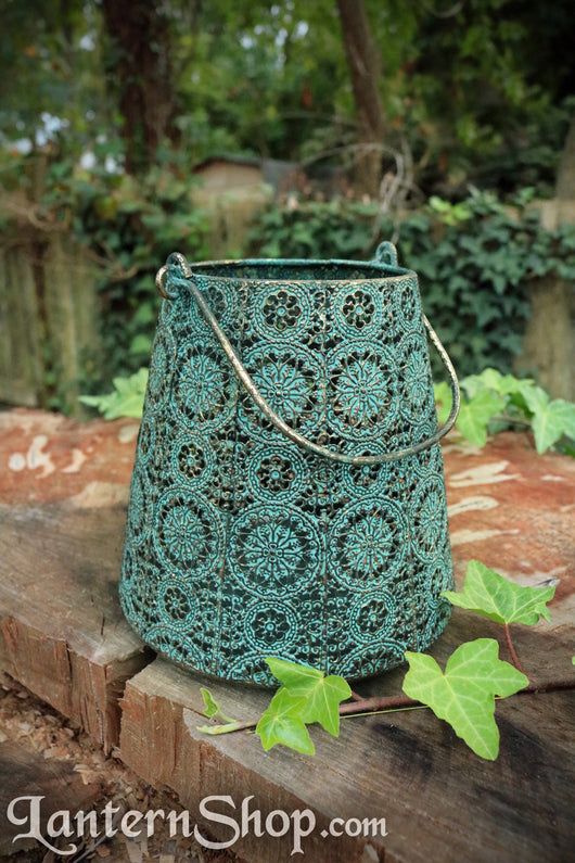 Brass flowers basket lantern - large
