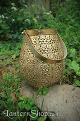 Golden flowers basket lantern - Large