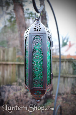 Arched teal pendant lantern