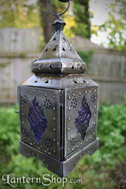 Silver purple studded lantern