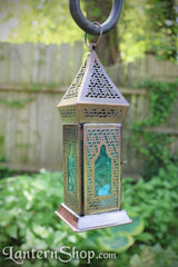 Blue mosaic copper lantern