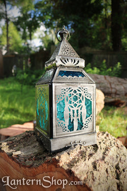 Silver blue dreamcatcher lantern