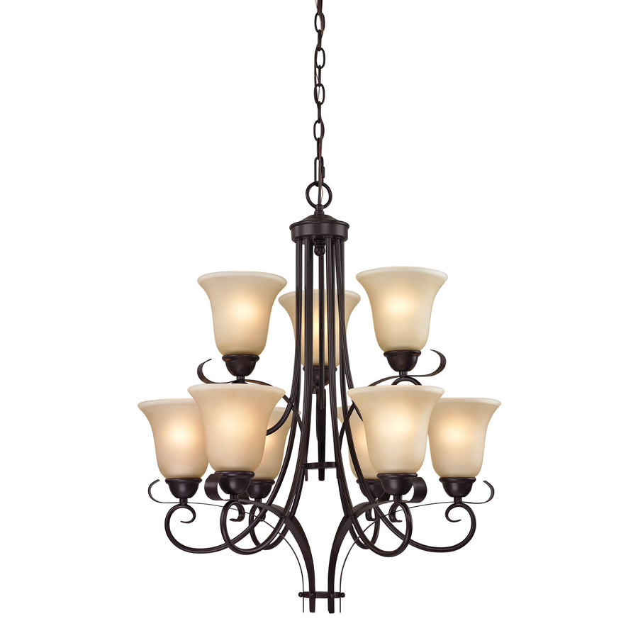 Brighton 9-Light Chandelier in Oil Rubbed Bronze  with Amber Glass