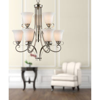 Brighton 9-Light Chandelier in Brushed Nickel with White Glass