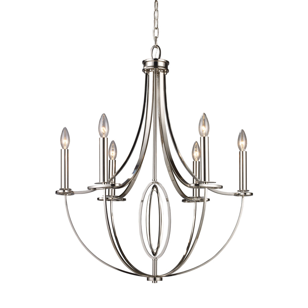 Dione 6-Light Chandelier in Polished Nickel