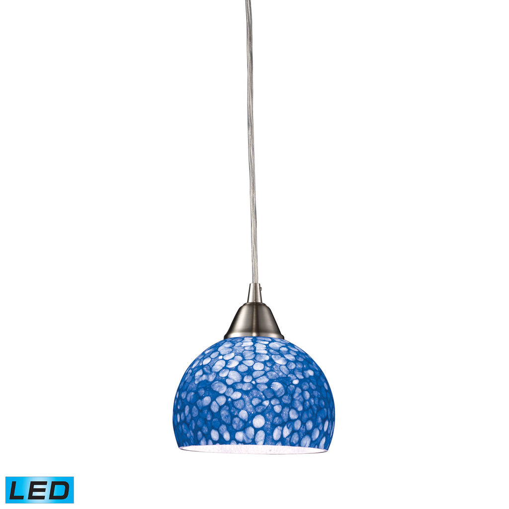 Cira 1-Light Pendant in Satin Nickel with Pebbled Blue Glass - LED Offering Up To 800 Lumens (60 Wat