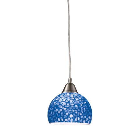 Cira 1-Light Pendant in Satin Nickel with Pebbled Blue Glass