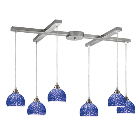 Cira 6-Light Pendant in Satin Nickel and Pebbled Blue Glass