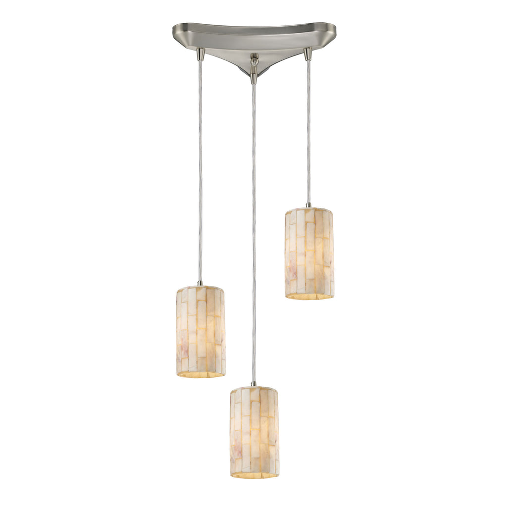 Coletta 3-Light Pendant Stone in Satin Nickel