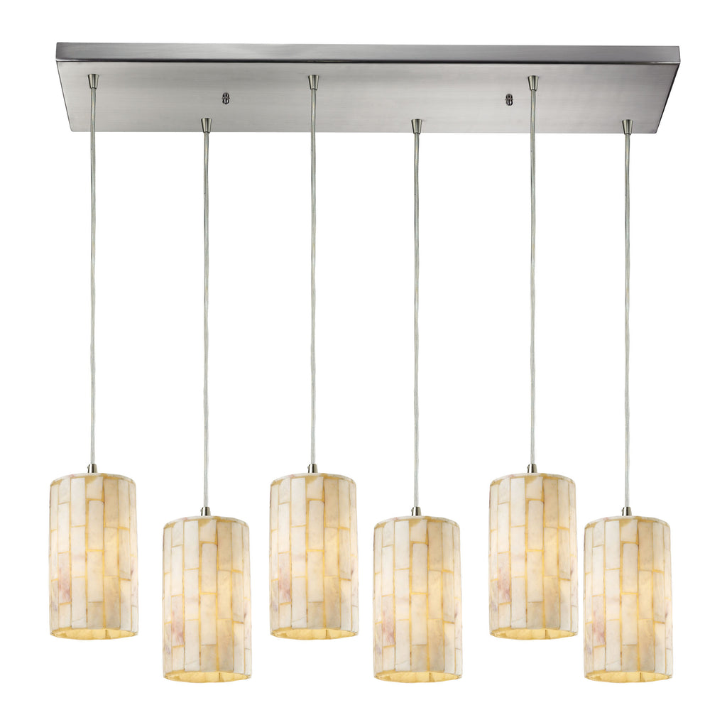 Piedra 6- Light Pendant in Satin Nickel