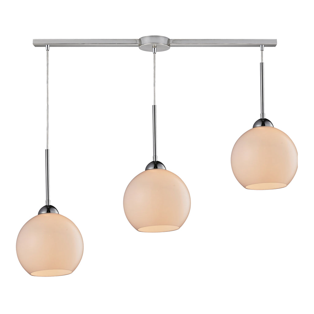 Cassandra 3 Light Pendant in Polished Chrome and White Glass