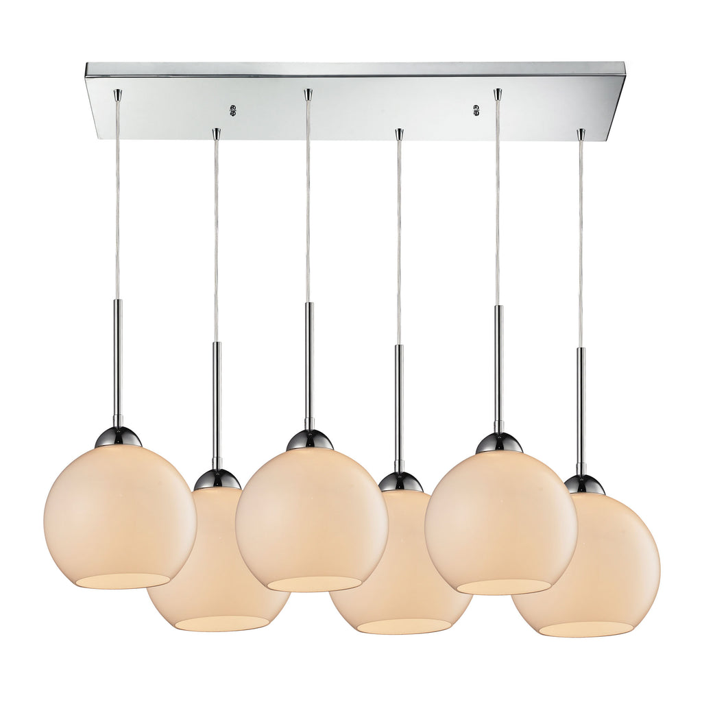 Cassandra 6 Light Pendant in Polished Chrome and White Glass
