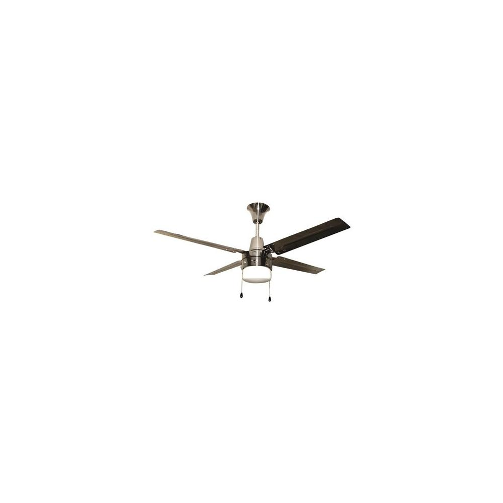 "CEILING FAN-48"" BRUSHED CHROME, FROSTED GLASS INC LIGHT KIT"