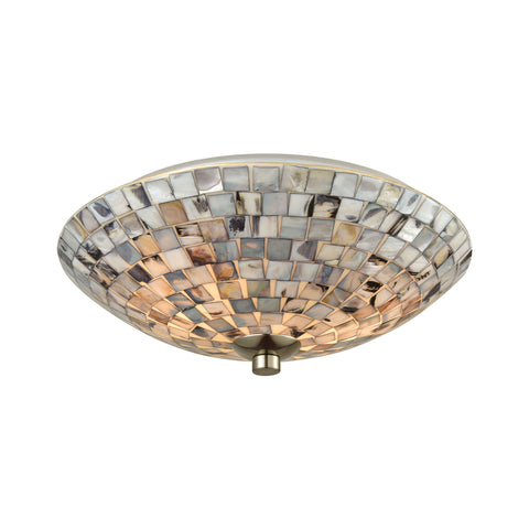 Cappa Shells 2-Light Flush Mount with Gray Capiz Shells and Satin Nickel Hardware