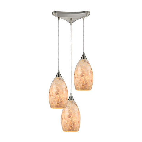 Capri 3 Light Pendant in Satin Nickel and Capiz Shell