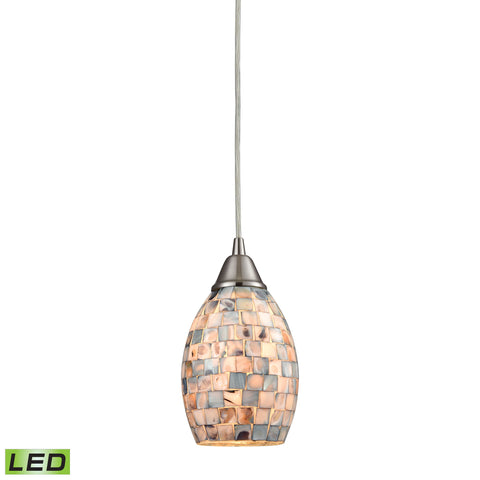 Capri 1 Light LED Pendant in Satin Nickel and Gray Capiz Shell