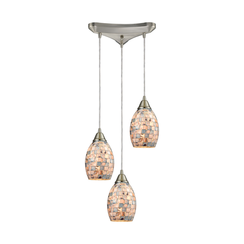 Capri 3 Light Pendant in Satin Nickel and Gray Capiz Shell
