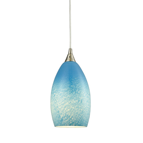 Earth 1 Light Pendant in Satin Nickel and Sky Blue Glass