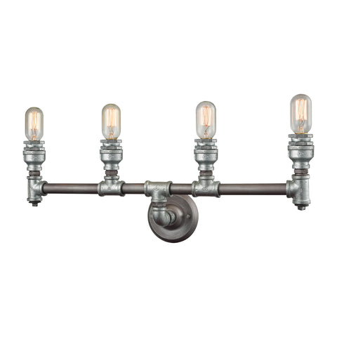 Cast Iron Pipe 4 Light Vanity in Weathered Zinc