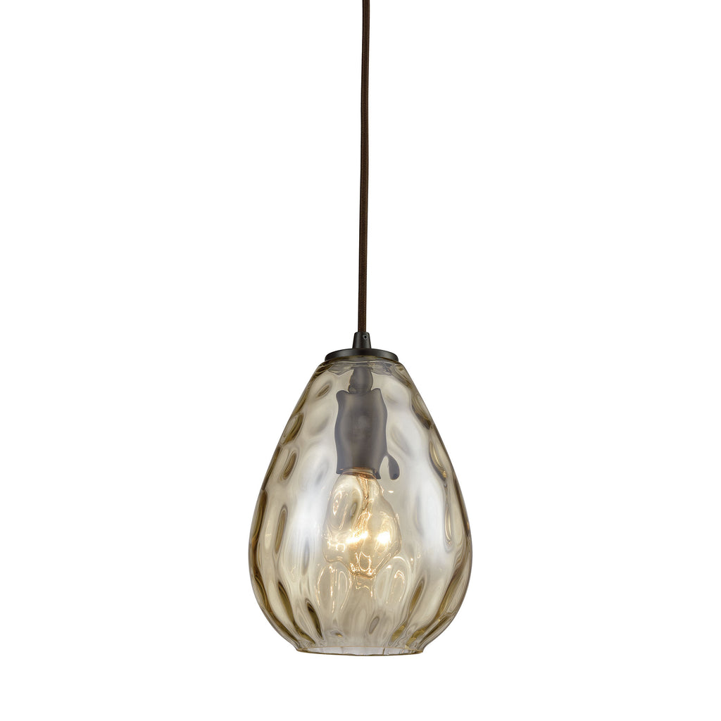 Lagoon 1 Light Pendant in Oil Rubbed Bronze with Champagne Plated Water Glass