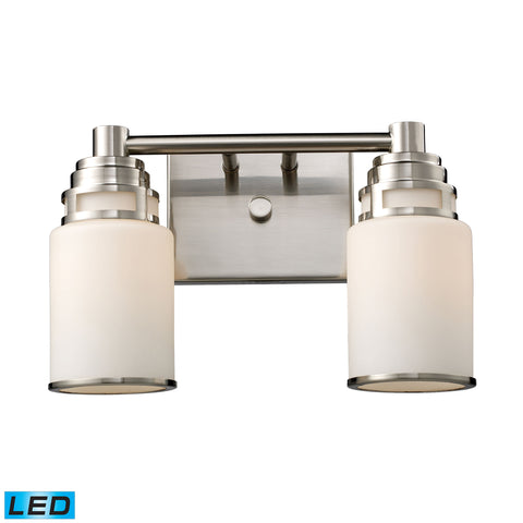 Bryant 2-Light Vanity in Satin Nickel - LED, 800 Lumens (1600 Lumens Total) with Full Scale Dimming