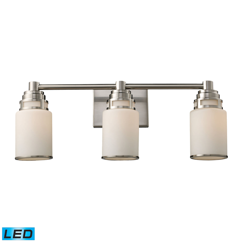 Bryant 3-Light Vanity in Satin Nickel - LED, 800 Lumens (2400 Lumens Total) with Full Scale Dimming