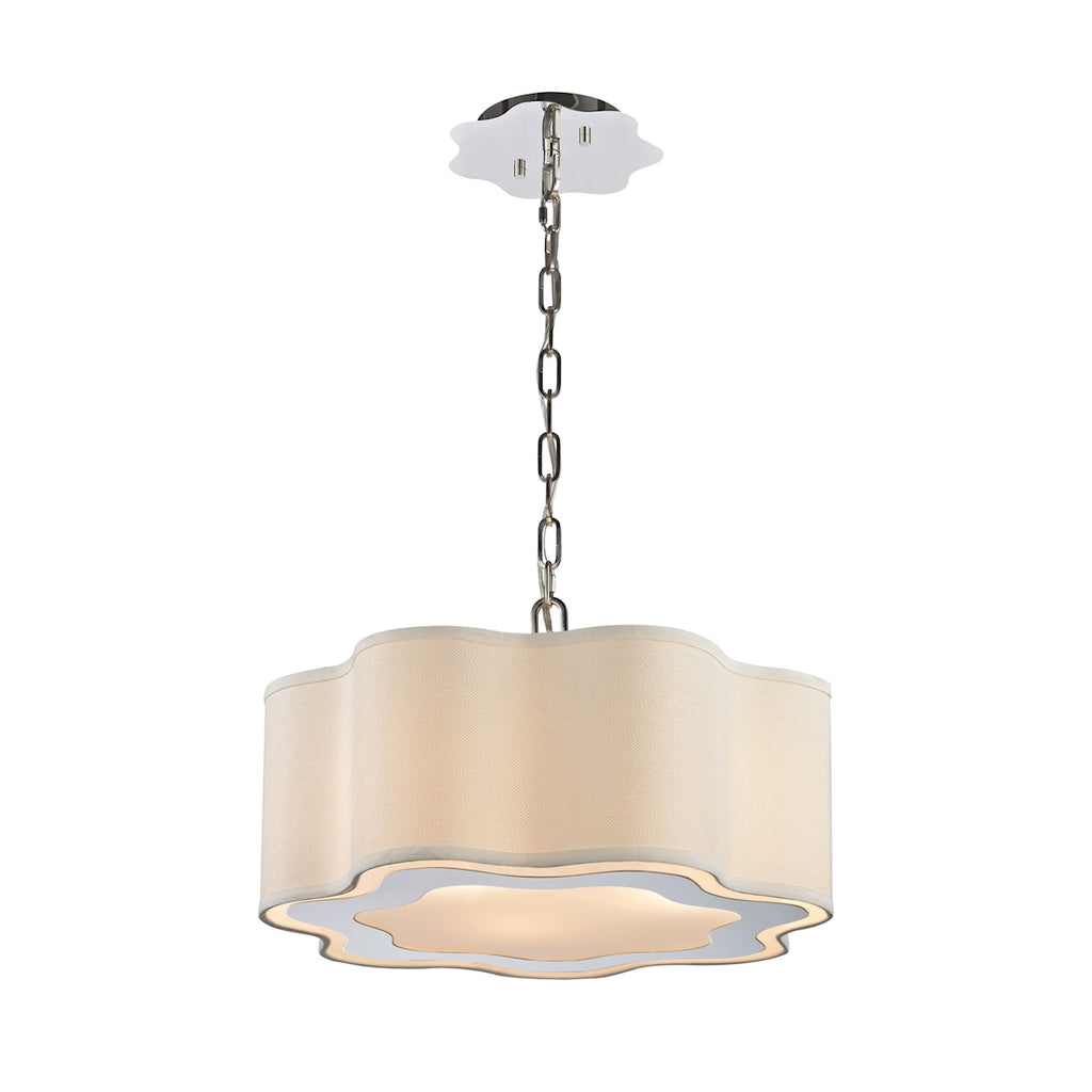 Villoy 3 Light Drum Pendant In Polished Stainless Steel And Nickel