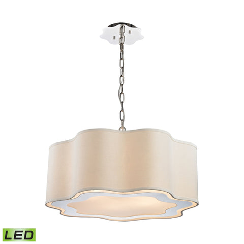 Villoy 6 Light LED Drum Pendant In Polished Stainless Steel And Nickel