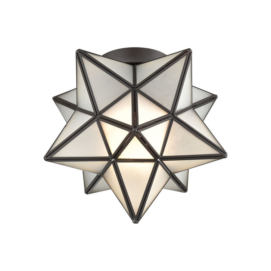 Moravian Star Flush Mount in Oil Rubbed Bronze with Frosted Glass