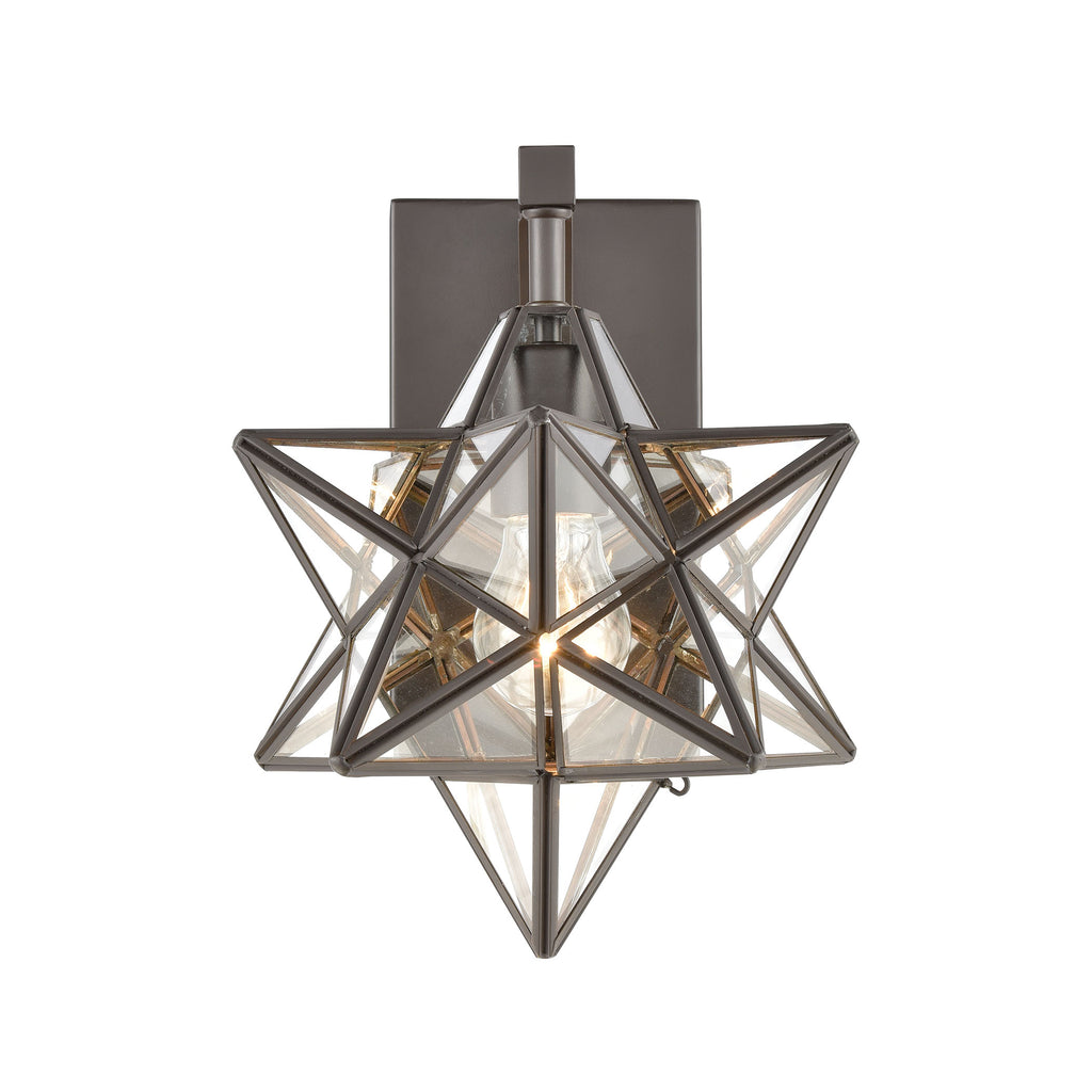 Moravian Star 1-Light Wall Sconce in Oil Rubbed Bronze with Clear Glass - Small